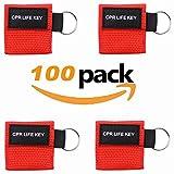 Packung von 100pcs CPR Maske Schlüsselbund Ring Emergency Kit Rescue Face Shields mit Einwegventil Breathing Barriere für Erste Hilfe oder AED Training, Erwachsene und Säugling, einfach zu tragen (RED)