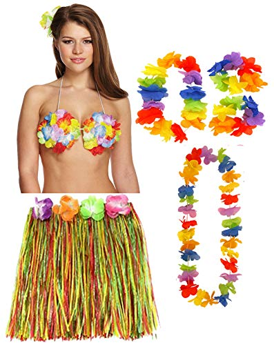 (Labreeze Damen Multi Hula Rock 40cm 4 Stück Lei Set Blume Bra Hawaiian Strand Party Kostüm)