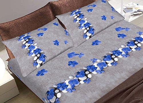 Fantasy Spa (Biancheriaweb Bettwäsche-Set mit Kopfkissenbezug, Spannbett- und Oberlaken, aus 100% Baumwolle, Modell: Fantasia Spa. Matrimoniale blau)