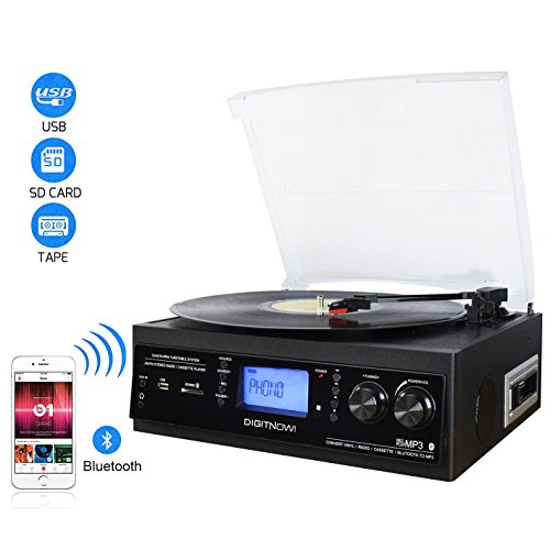 DIGITNOW! Bluetooth Viny Plattenspieler, Kassette, AM / FM Radio und Aux in mit USB-Anschluss und SD Encoding - eingebauter Stereolautsprecher,Stand Alone Music Player, Fernbedienung