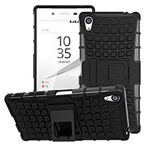 Wellmart Hybrid Defender Military Grade Armor Kick Stand Back Case Cover for Sony Xperia Z5 Premium Dual (Black)