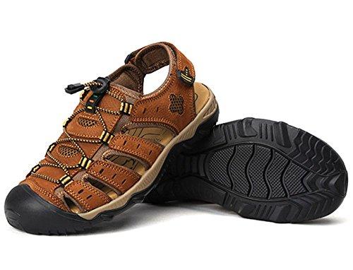 Dayiss Herren Jungen Geschlossene Sandalen Leder Trekking-&Wanderschuhe Outdoorschuhe Slingback Schuhe Braun