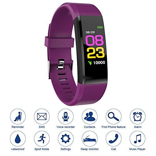 Tutmonda 115 Plus Fitness Tracker Pulsera Inteligente BT Color de la Pantalla Reloj Deportivo Frecuencia Cardíaca/Monitor Presión Arterial Podómetro Paso Calorías Contador Púrpura