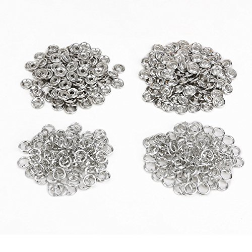 9,5 mm Metall, Offener Ring Snaps Druckknöpfe Druckknopf Button Nickel Rivet Leder Stummer Baby Lätzchen Clips Craft Silber (Leder Nickel,)