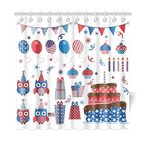 JOCHUAN Home Decor Bad Vorhang Vierten Juli Patriotischen Eulen Party Set Polyester Stoff Wasserdicht Duschvorhang Für Badezimmer, 72 X 72 Zoll Duschvorhänge Haken Enthalten