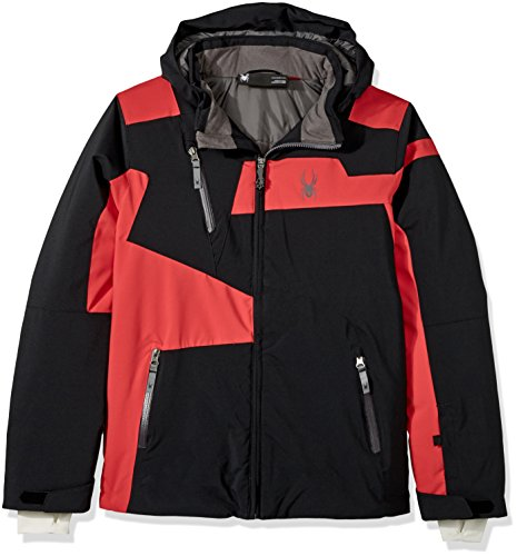 Spyder Jungen Jacke Rival, Jungen, Black/Red/Polar, 44 (Ski Spyder Goggles)
