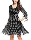 Zeagoo Damen Elegant Sommerkleid Chiffonkleid mit Polka Dots Cocktail Party Kleid A Linie Knielang Schwarz S