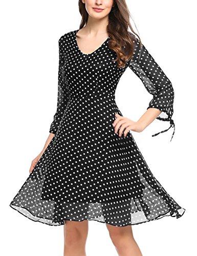 Zeagoo Damen Elegant Sommerkleid Chiffonkleid mit Polka Dots Cocktail Party Kleid A Linie Knielang Schwarz S Chiffon Dot