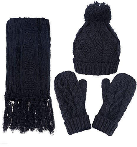 3 in 1 Warm Thick Cable Knitted Hat Scarf & Gloves Winter Set, Black (Knit Cashmere Beret)