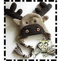 Gorro Reno PERSONALIZABLE (Bebé, crochet, ganchillo, muñeco, peluche, niño,