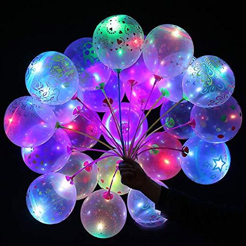 druckte Blumen LED leuchten Party Glow in The Dark Luftballons Party Dekrationen für Weihnachten, Feier, Geburtstag, Hochzeit usw. (50 PCS) ()