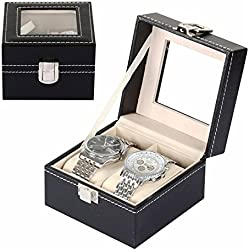Interesting® Luxury 2 Grid Leather Watch Box Jewelry Display Collection Storage Case Watch Organizer Box Holder