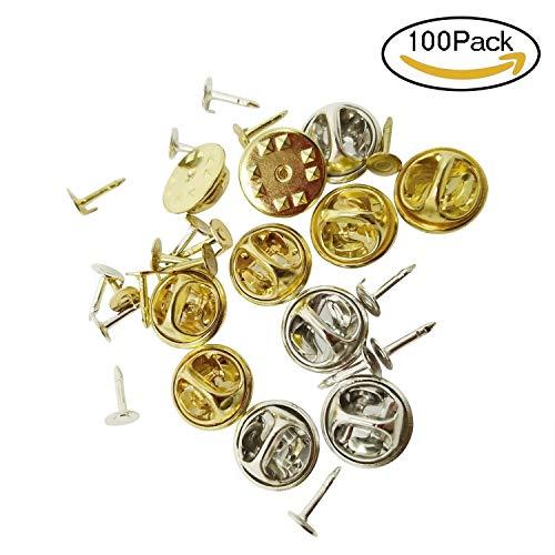 Newkeen 100 Stück Schmetterling Krawatte Reißzwecken Pin Rücken Ersatz mit Leeren Pins für Handwerk Herstellung (Silbern+Gold)