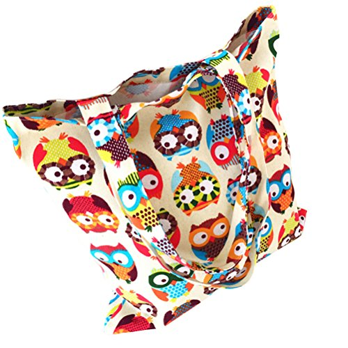 Attractive beauty Womens Canvas Owl Tote Shopper Bag
