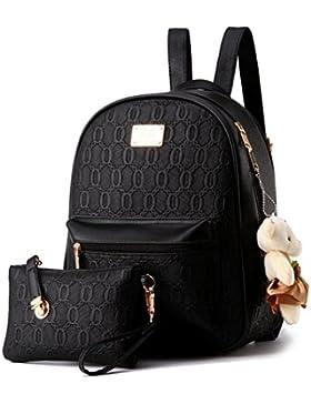 YAAGLE Relief PU Casual Damen Mädchen College Schulter Tasche mit Bär Dekorationen Rucksack + Handtasche, 2