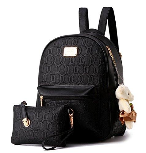 Beute Tasche (YAAGLE Damen Rucksack PU Leder Schultertasche Campus Uni Schultasche mit Anhänger Bärchen Backpack+Handtasche 2 Pcs)