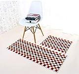 Kong EU Waschbar Home und Küche Teppiche Moderner Teppich Rutschfeste Küchenmatte Rückseite aus Gummi Fußmatte abosrbent Badteppich Läufer Teppich Set, kariert Design, rot, 50x80+50x150cm