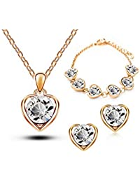 Ruvee Heart Of The Ocean Swarovski White Gold Plated Jewelry Necklace Set For Women & Girls For Parties & Weddings