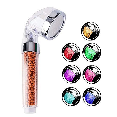 VEYETTE Soffione Doccia LED a 7 Colori Cambiano Telefono Docce Alta Pressione Spa Doccetta Filtro Negativi Spruzzatore (Soffione a LED 7 Colori)