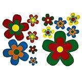 Aufkleber-Set retro Blumen I kfz_525 I Blümchen bunt I Flower-Power Sticker für Küche Bad Kinder-Zimmer Wohnmobil Bulli Roller PKW I wetterfest