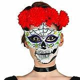 Cagoule de mort mexicain Masque Sugar Skull motif homme loup de jour des morts crâne mexicain fête des morts demi-masque tête de mort la Catrina mascarade de mort Calavera