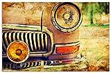 Wallario Herdabdeckplatte/Spritzschutz aus Glas, 1-teilig, 80x52cm, für Ceran- und Induktionsherde, Motiv Antiker Oldtimer in Sepiafarben - Frontansicht