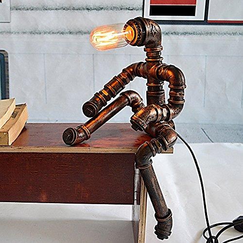 wshfor Retro-Roboter Tischleuchte, Industrie Wasserrohre Schreibtisch Lampe, Hand Schmiedeeisen Fertigung, Büro, Bar, Studienraum Wohnzimmer Dekoration - Industrie-schreibtisch-lampe