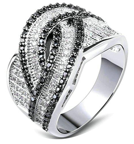 Daesar Frauen Ring Vergoldet Ring Silber Ring Schwarz Zirkonia Ehering Infinity Größe:60 (Kostüme Medusa Paare)