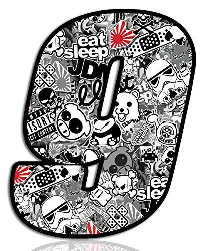 Startnummer Nummern Auto Moto Vinyl Aufkleber Stickerbomb Weiß Motorrad Motocross Motorsport Racing Nummer Tuning 9, N 349