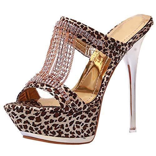 COOLULU Damen Leopard High Heels Sandalen Stiletto Offen Pantoletten mit Plateau Mules 13cm Absatz Outdoor Slipper Schuhe (Schwarz,44)