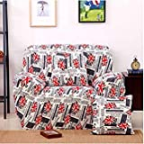 SLB Works One Seater Textile Spandex Strench Flexible Printed Elastic Sofa Couch Cover Furniture Protector Color #07