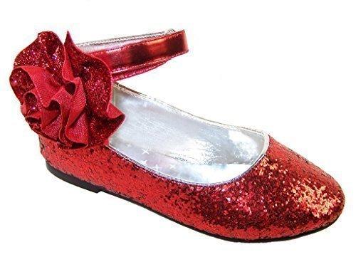 Mädchen Glitzer Ballerinas Dorothy Stil für Party - Rot, (Dorothy Rote Glitzer Schuhe)