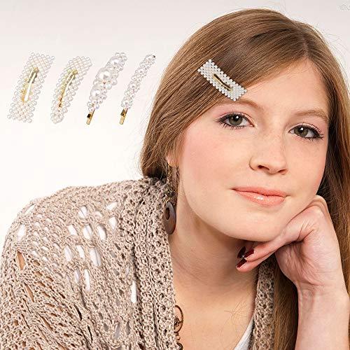 amen,4 stücke Eleganz Weiße Perlen Dekor Haarspangen Kit Braut Haarspangen für Frauen Mädchen ()