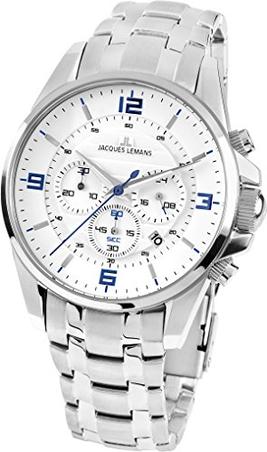 JACQUES LEMANS Herrenuhr Liverpool Metallband massiv Edelstahl Chronograph 1-1799G