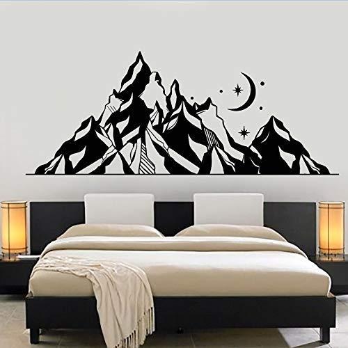 tattoo Große Berge Landschaft Wandaufkleber Mond Sterne Kunst Wandbild Kinderzimmer Dekoration Vinyltapete braun 106x42 cm ()