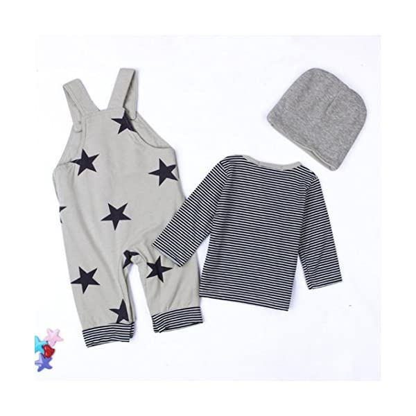 Covermason Recién Nacido Bebé Conjuntos Rayas Camisetas Pantalones de babero Sombrero (3PCS) (6M, Gris) 5