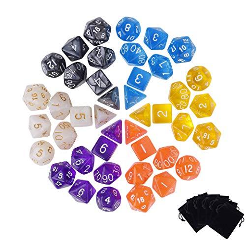 QH-shop Würfel 42 Stück Polyeder Würfel Spiel Würfel 6 Farben Dungeons und Dragons DND RPG MTG Tischspiele Würfel Mit 6 Velvet Beutel -