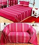 Homescapes waschbare Tagesdecke Sofaüberwurf Überwurfdecke Morocco 150 x 200 cm in Streifen-Design aus 100% reiner Baumwolle in pink