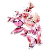 RETUROM Wall 12x mariposa 3D Etiqueta Imán sitio de la decoración de la etiqueta apliques (Rosado)