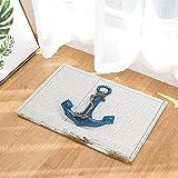 nautico decorazioni retrò blu Anchor on vintage in legno da bagno tappeto antiscivolo zerbino Floor Entryways indoor anteriore zerbino tappetino da bagno 60x 40cm bambini da bagno.
