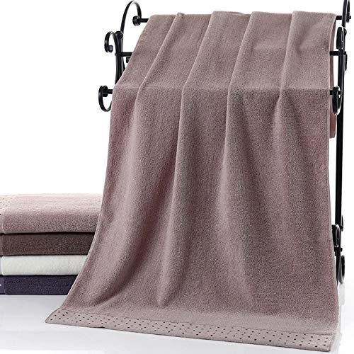 CXBHB Handtuch für Erwachsene, für Männer und Frauen, aus Baumwolle, Hellbraun mit weißen Punkten, 70 * 140