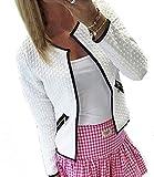 Legros Damen Elegant Jacke Blazer Herbst Kurze Cardigan Oberteile Tops weiß , Gr.-XL/EU(40)