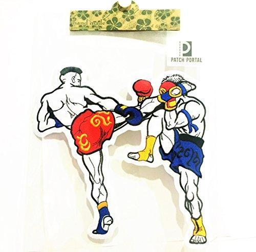 Patch Portal Muay Thai Boxing MMA Martial Arts bestickte Applikation Bügelbild Patches Abzeichen 20,3cm Logo Boxer Sport für Herren T-Shirts Tuch Hemd Shorts Hose Tasche - Logo Bestickte Jeans Shirts