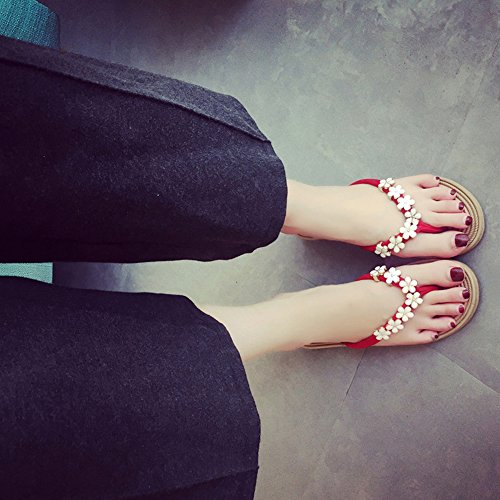 Eastlion Frauen und Mädchen Blumen Design Bequeme Sommer Hausschuhe Flip Flops Strings Strand Hausschuhe Schuhe Schwarz