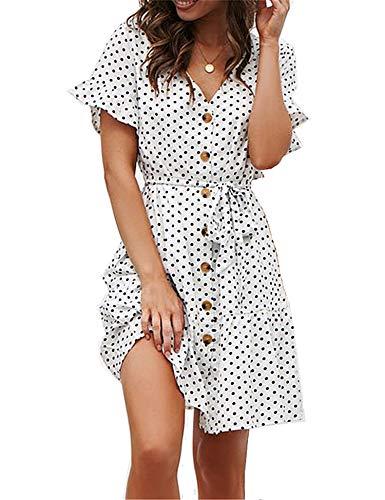 1542fd3ae18b3 Women's Ruffle Summer Mini Dress Short Sleeve V Neck Button Down T Shirt  Dresses White L