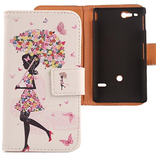 Lankashi PU Flip Leder Tasche Hülle Case Cover Schutz Handy Etui Skin Für Sony Xperia Go St27i Umbrella Girl Design