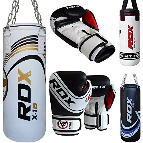 RDX Bambini Sacco da Boxe Pieno Arti Marziali MMA Sacchi Pugilato Muay Thai Kick Boxing con Guantoni Allenamento Catena Gancio Soffitto 2FT Junior Punching Bag Set