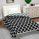 Divine Casa Basic Checkered Polyester Single Dohar - Black and White