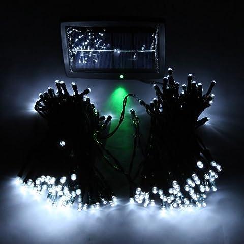 Kingzer solaire Guirlande lumineuse 200LED Arbre de Noël Fête de mariage jardin lumière blanc