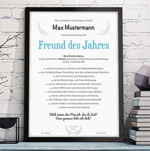 MANN/FREUND/EHEMANN DES JAHRES Bild Urkunde Auszeichnung Danksagung - optional mit Rahmen - Geschenkidee Geburtstag Jahrestag Hochzeitstag Valentinstag